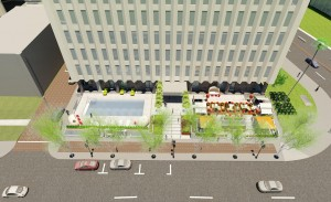 A rendering of the hotel's front yard
