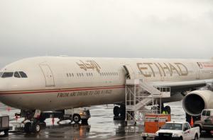 An Etihad aircraft at JFK