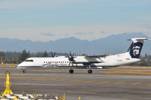 A  Q400 aircraft in Alaska Airlines livery