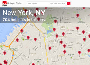 The hotspot finder map interface