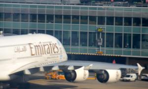 An Emirates aircraft at JFK
