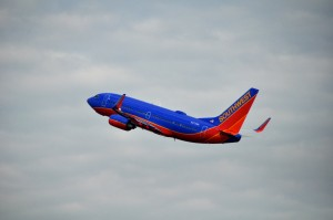 A Southwest plane taking off from LaGuardia