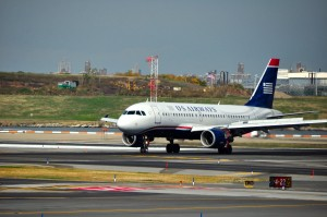 A US Airways plane at LaGuardia