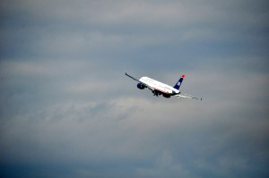 A US Airways jet taking off