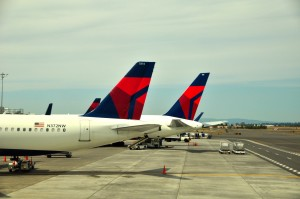 Delta aircraft in Portland