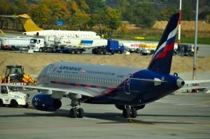 An Aeroflot plane in Kraków