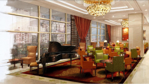 An illustration of a lounge in the hotel