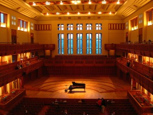 Ozawa Hall at Tanglewood before a concert in early July 2009.