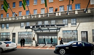 A rendering of the hotel