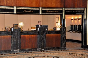 Reception desk at New York's Waldorf-Astoria: no tax surcharge collected here