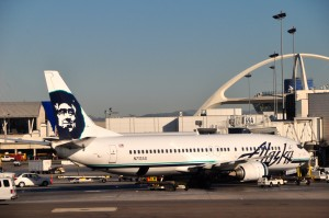 An Alaska Airlines jet in Los Angeles