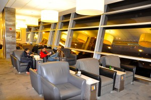Passengers at American's Flagship Lounge at JFK