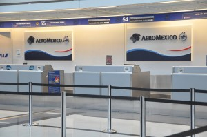 An Aeromexico check-in counter at O'Hare