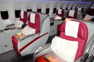 Business-class seating on the 777-300ER