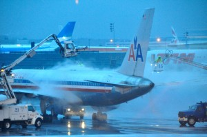 A plane being deiced at JFK