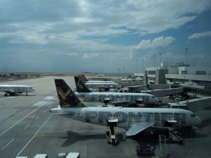 Frontier aircraft at Denver International Airport