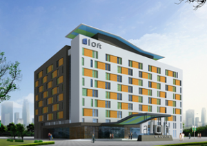 A rendering of the hotel's exterior