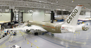 A Bombardier CS100 in the factory