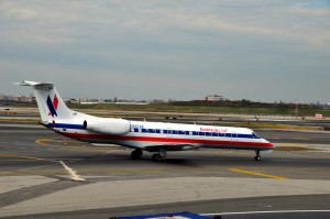 An American Eagle jet at LaGuardia