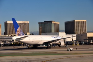 A United jet in Los Angeles