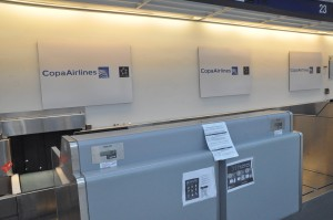 A Copa Airlines check-in counter in Chicago