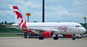 An Air Canada Rouge aircraft in Montréal