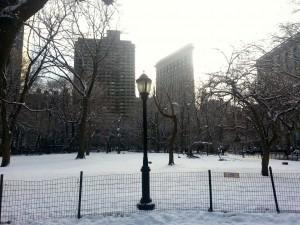 A snowy Flatiron in Manhattan