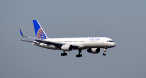 A United Airlines jet landing at JFK