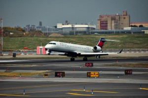 A Delta plane landing at LaGuardia