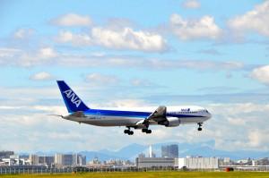 An ANA jet landing in Tokyo