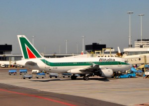An Alitalia aircraft in Amsterdam