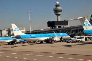 A KLM aircraft in Amsterdam