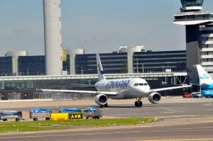 A Finnair aircraft in Amsterdam