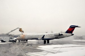 An aircraft being deiced at LaGuardia last week