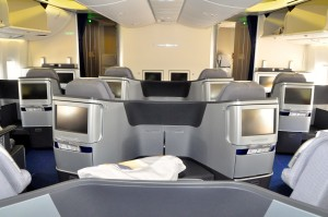 Business class cabin on a Lufthansa 747-8