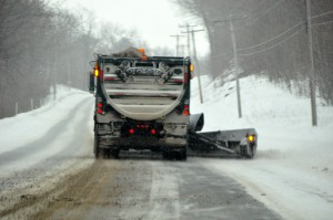 Snowplow clearing the roads after heavy snow