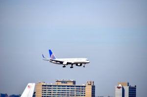A United aircraft landing at JFK