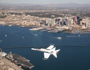 A Hornet strike fighter above San Diego