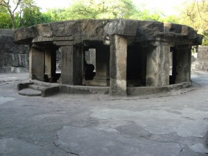 The circular Nandi mandapa at the Pataleshwar cave temple in Pune