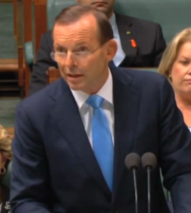 Prime Minister Tony Abbott speaking to Parliament about MH370