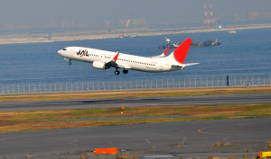 A JAL aircraft taking off at Tokyo's Haneda Airport