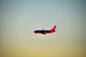 A Southwest plane landing  in Los Angeles