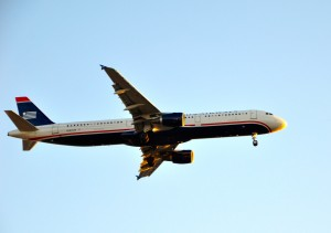 A US Airways plane landing in Los Angeles