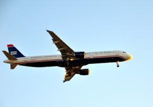 A US Airways plane landing in Los Angeles