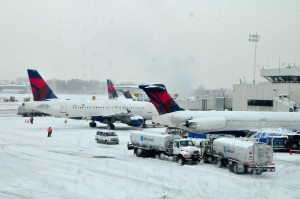 Delta aircraft at LaGuardia during last month's storm