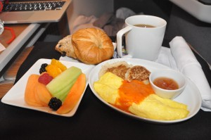 Breakfast in business class on an AA international flight