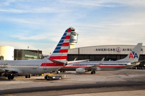 American Airlines planes at LaGuardia on Monday