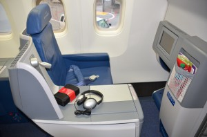 A lie-flat seat in BusinessElite on a Delta 767-400