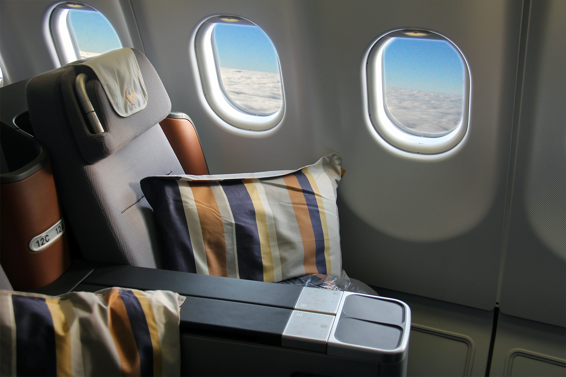 Business-class seats on a Lufthansa A330