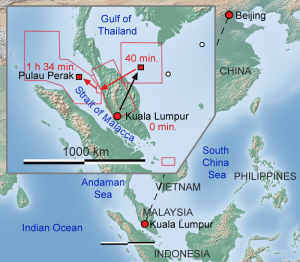 Flight 370 flight path and search area